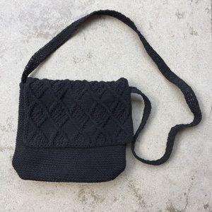 Black Crochet Crossbody Bag